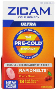 Zicam Ultra Cold Remedy Rapidmelts, Cherry, 18 Count
