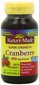 Nature Made Super Strength, Cranberry 450 mg with Vitamin C, 60 Softgels