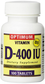 Optimum Vitamin D-400IU Dietary Suppliment Capsules, 100 Count