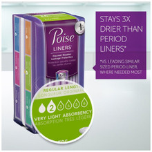 Poise Incontinence Panty Liners, Very Light Absorbency, Regular, 6X44 CT