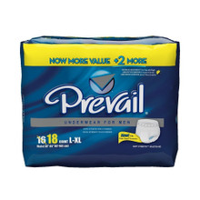 Prevail Dri-Fit Maximum Absorbency Underwear for Men, Large/Extra Large, 4X18 CT