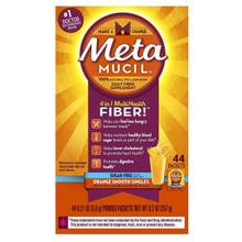 Metamucil Daily Fiber Supplement,100% Natural Psyllium Husk, Orange Smooth Sugar