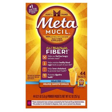 Metamucil Daily Fiber Supplement,100% Natural Psyllium Husk, Orange Smooth Sugar