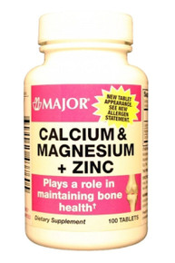 Major Calcium Magnesium + Zinc Calcium Carbonate-334 Mg White 100 Tabs
