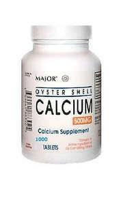 Major Pharma Oyster Shell Calcium, with Vitamin D, 500 mg,1000 ct