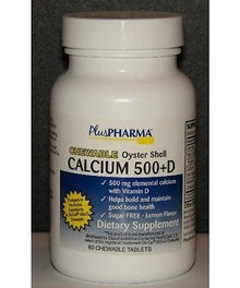 PlusPharma Chewable Oyster Shell Calcium 500 plus D, 60ct
