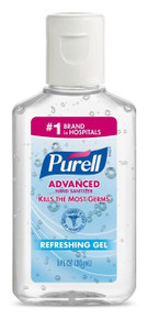 Purell Advanced, hand sanitizer, kills most germs, Refreshing gell,1 oz-12 packs