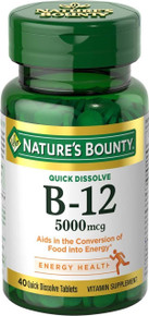 Nature's Bounty Vitamin B-12 5000 mcg, 40 Quick Dissolve Tablets
