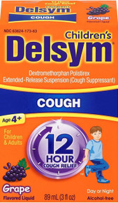Delsym Cough Suppressant for Children and Adults, Grape, 3 Fluid Ounce