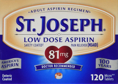 St. Joseph 81 mg Safety Coated Aspirin Pain Reliver 120 Counts