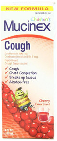 Mucinex Children's Expectorant and Cough Suppressant, Cherry, 4 Ounce