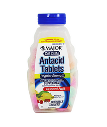 Major Calcium Antacids Chewable Tablets with Mixed Fruit Flavors 150 count