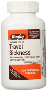 Rugby Travel Sickness 25mg Meclizine 1000 Chewable Tablets