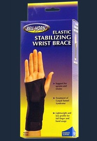 "Bell-Horn Elastic Stabilizing Wrist Brace, Black Medium, Wrist: Right 6.5""-7.5"""