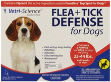 Vetr Science Flea + Tick Defense for 23 to 44 Pound Dogs and Puppies 3 Doses