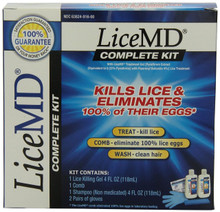 LiceMD Complete Kit with Comb and Gloves, Kills lice and eliminates thier eggs