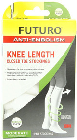 Futuro Anti-Embolism Knee Length Stockings Closed Toe White