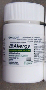 Major All Day Allergy Antihistamine Cetirizine HCl 10mg Chewable 100 CT Bottle