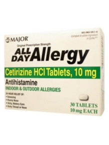 Major All Day Allergy Relief Antihistamine Cetirizine HCl Chewable 10mg 30 Count
