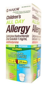 Major All Day Allergy Syrup Antihistamine Cetirizine Oral Solution 1 mg 118 ml