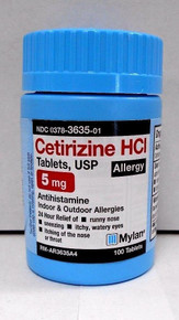 Mylan Cetirizine HCL 5mg Antihistamine 100 ct Tablets