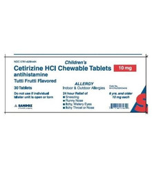 Sandoz Children's Cetirizine HCl Antihistamine Chewable 10 mg 30 count Tablets