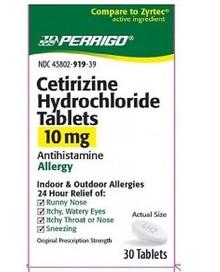 Perrigo Cetirizine 10 mg Hydrochloride 30 Tablets 4H2