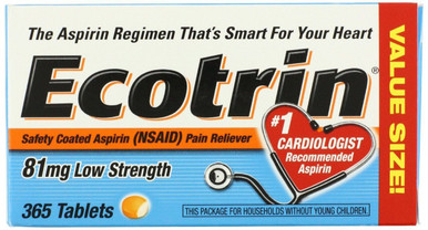 Ecotrin Low Dose 81 Mg Tablets 365 Counts No.1 cardiologist recommended aspirin