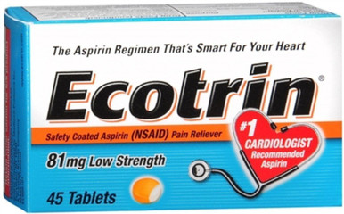 Ecotrin 81 Mg Low Strength Aspirin Tablets 45 Counts