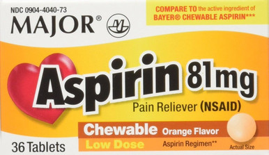 Major Aspirin 81 mg Pain Reliver Chewable Orange Flavored Tablets 36 ct
