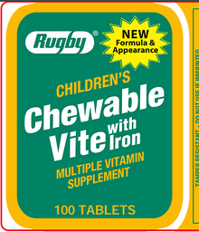 Rugby Childrens Chewable Vite with Iron Multivitamin and Multimineral Supplement