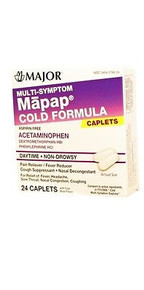 MAJOR MAPAP COLD MULTI SYMPTOM D-METHORPHAN ACETAMINOPHEN ORAL MINT TABLET 24 CT