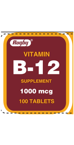 Rugby Vitamin B-12 Supplement 1000 mcg 100 counts