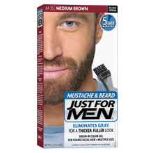 Just For Men Mustache and Beard Brush-In Color Gel, Medium Brown
