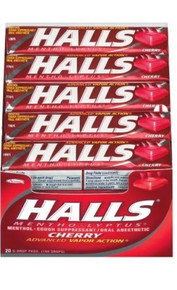 HALLS Base Cherry Menthol Cough Suppressant Drops Sticks 20 counts