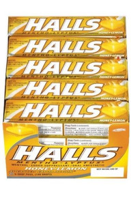 HALLS Honey Lemon Menthol Cough Suppressant Drops Sticks 20 counts