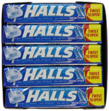 HALLS Base Mentho Lyptus Menthol Drops Cough Suppressant Sticks 20 counts