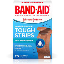 Band-Aid Tough-Strips Waterproof Adhesive Bandages Assorted Sizes, 20 Count