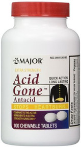 Acid Gone Antacid Chewable Extra Strength Tablets 100 Ct Stops Heart Burn