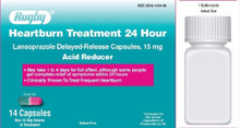 Rugby Heartburn Treatment 24 Hour Delayed-Release Acid Reducer 15MG 14 Counts