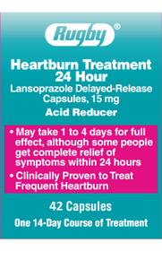 Rugby Heartburn Treatment 24 Hour Delayed-Release Acid Reducer 15MG 42 Counts