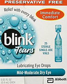 Blink Tears Sterile Single Use Vials 25 Count 0.01 Fl Oz Preservative Free