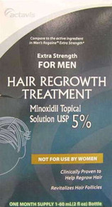 Actavis Hair Regrowth Treatment Minoxidil 5% Mens Solution 2 X 60 ml