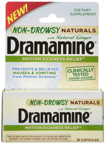 Dramamine Non-Drowsy Naturals with Natural Ginger 18 Count
