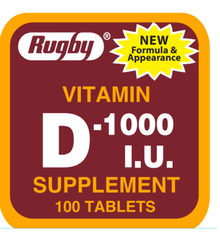 Rugby Vitamin D-1000 I.U Supplement 100 Tablets Vitamin D calcium absorption