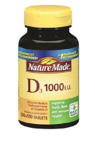 Nature Made Vitamin D3 1000 IU Softgels 300 Count, Supports Bone & Immune Health
