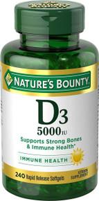Nature's Bounty Vitamin D3 5000 IU, 240 Softgels