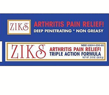 ZIKS Arthritis Pain Relief Cream 2 Oz Deep-Penetrating Triple Action Formula