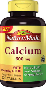 Nature Made Calcium 600 Mg with Vitamin D3 Value Size 220-Ct for Strong Bones