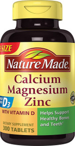 Nature Made Calcium Magnesium Zinc Tablets with Vitamin D 300 Count